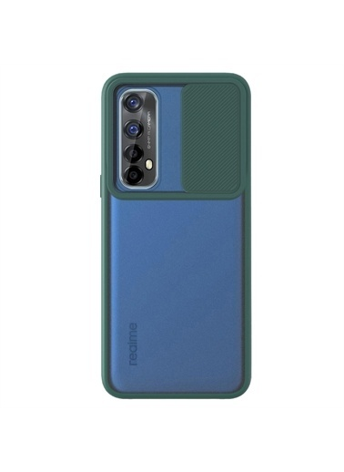 Microsonic Realme 7 Kılıf Slide Camera Lens Protection Kırmızı Yeşil